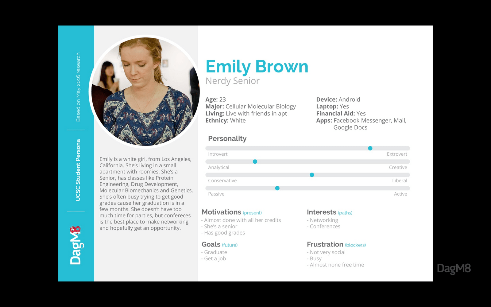 Emily, one of our personas